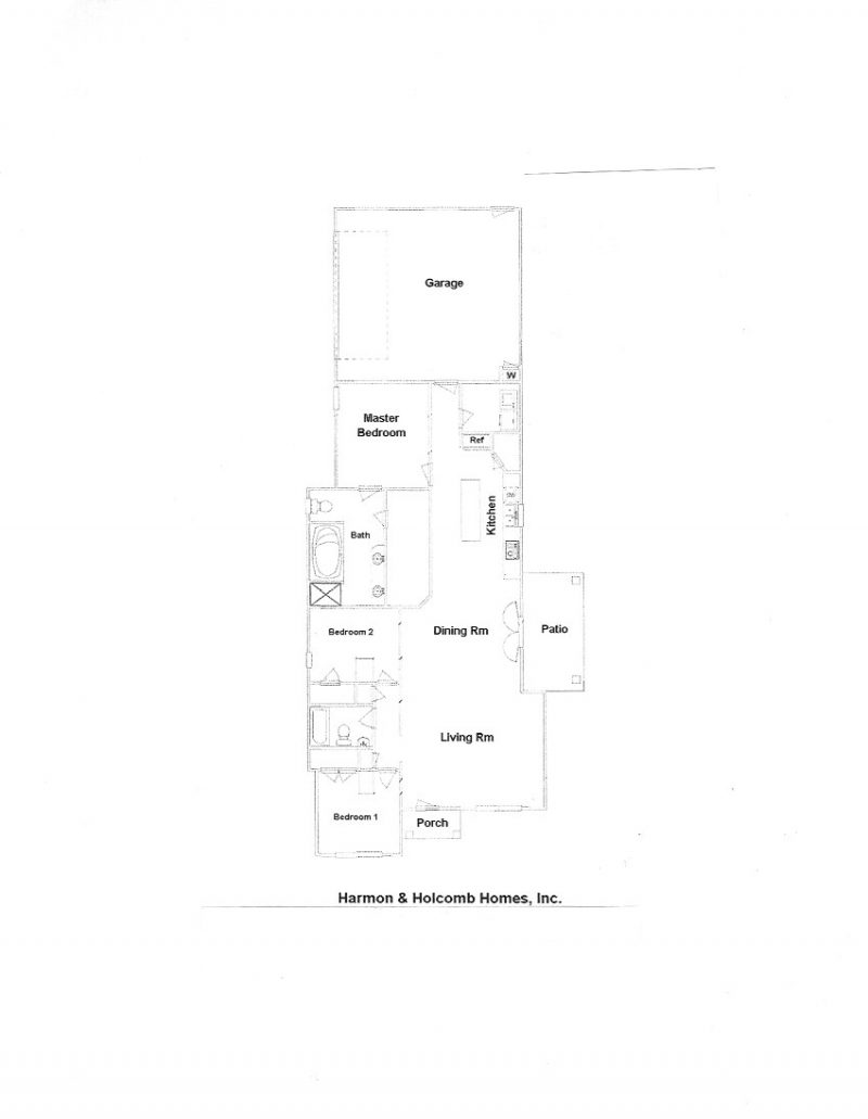 Floorplans harmon and holcomb homes for Zero lot house plans